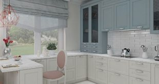 Visualization of the interior of a country house in neoclassical style. Kitchen 18 sqm Is working