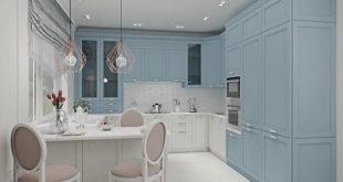 Visualization of the interior of a country house. Kitchen 18 sqm Work done in the prog