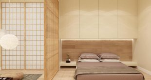 Asian-inspired bedroom 3D rendering of :. , ,