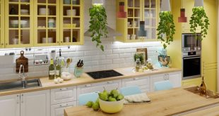 Visualization of a bright kitchen with summery notes in the color scheme of the interior. Studio