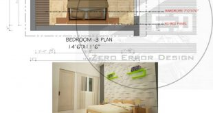 Bedroom interior design Location: Chennai, India. Software: AutoCAD Photoshop +