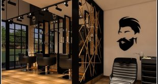 3D view of hairdressing salon Completed interior design project for a mens salon. Just