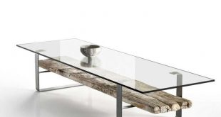 A nice encounter between rustic and modern. Transparent coffee table 3d mode