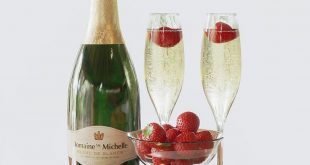 Zd model champagne with strawberries