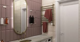 Housing design 98m2 ⠀ Novosibirsk city. Central district. bathroom In pr