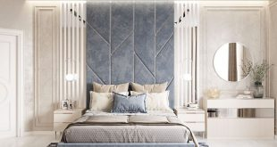 Bedroom with light blue accents