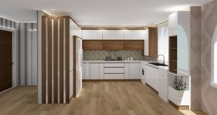Modern cabinet design with white high glass and wood design from Izofam online decoration design