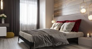 Visualization of a bedroom in a modern style in two versions.  Studio d