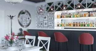 Extravagant cafe design Do not be afraid to use black and red in your interior.